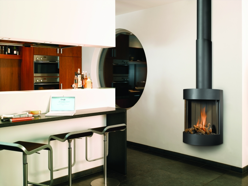 Open Keuken Afschermen : Modern Hanging Gas Fireplaces